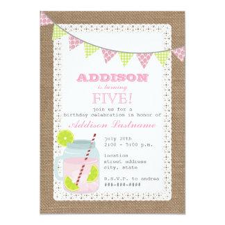 Burlap Inspired Pink Lemonade & Lime Birthday Card