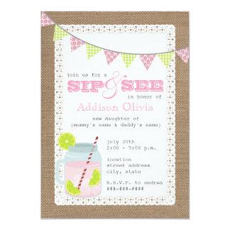 Burlap Inspired Pink Lemonade & Lime Sip + See Card