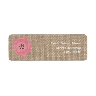 Burlap Inspired Pink Tulip Address Labels