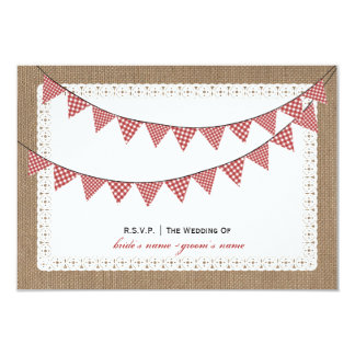 Burlap Inspired Red Gingham Bunting RSVP Card