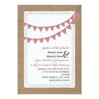 "Burlap Inspired Red Gingham Bunting Wedding 5"" X 7"" Invitation Card"