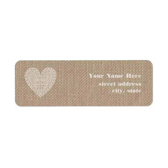 Burlap Inspired Rustic White Heart Label