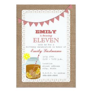 Burlap Inspired Sweet Tea Birthday 5x7 Paper Invitation Card