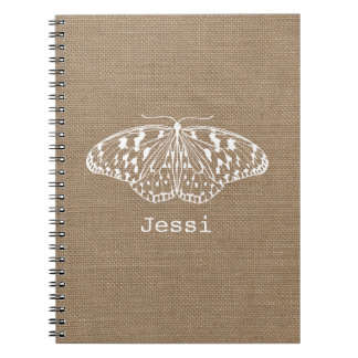 Burlap Inspired White Butterfly Spiral Notebook