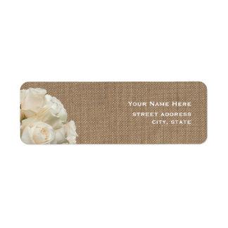 Burlap Inspired White Roses Address Label