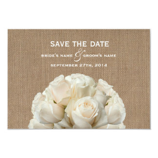 Burlap Inspired White Roses Wedding Save The Date 3.5x5 Paper Invitation Card
