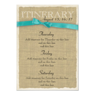 Burlap Itinerary Aqua Bow Card