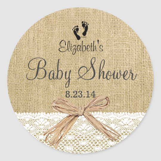 Burlap Lace and Footprints Baby Shower- Favour Classic