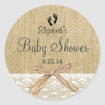 Burlap Lace and Footprints Baby Shower- Favour Round Sticker