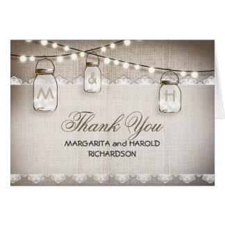 Burlap lace and mason jars thank you cards