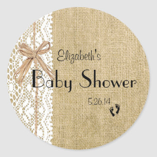 Burlap Lace and Rafia Image Baby Shower-Favor Round Sticker
