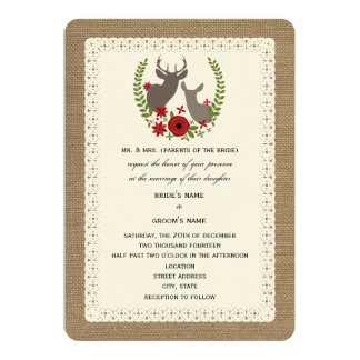Burlap + Lace Christmas Wedding Buck + Doe Deer Card