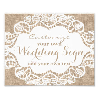 Burlap & Lace - Customize your own wedding sign -