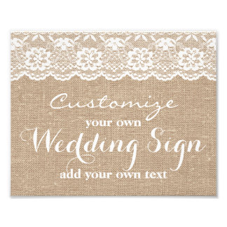 Burlap & Lace - Customize your own wedding sign - Photograph