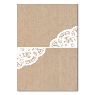 Burlap Lace Doily Wedding Table Place Cards