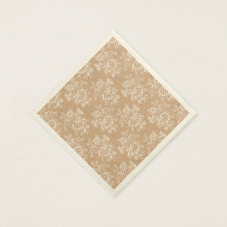 Burlap & Lace Floral Shabby Chic Paper Napkin