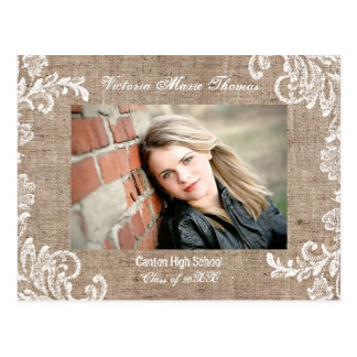 Burlap & Lace - Graduation Announcement Post Card