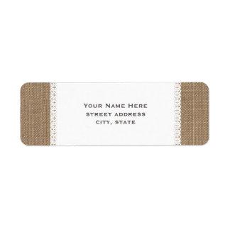Burlap & Lace Inspired Address Label