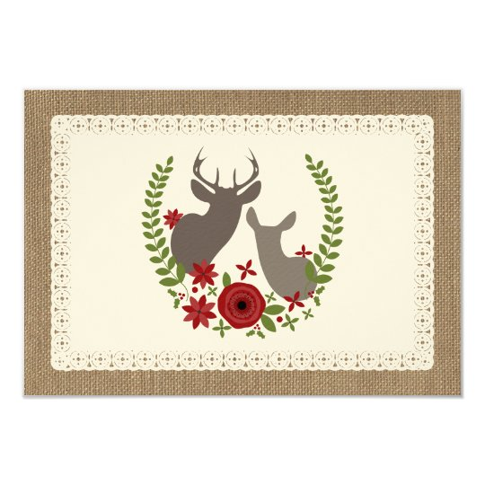 Burlap + Lace Inspired Christmas Deer R.S.V.P. Card