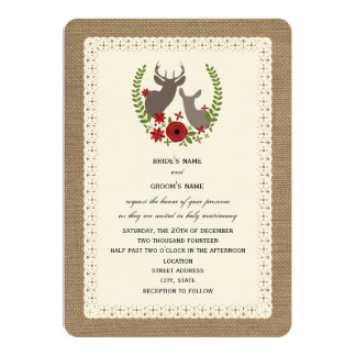 Burlap + Lace Inspired Christmas Wedding Deer 13 Cm X 18 Cm Invitation Card