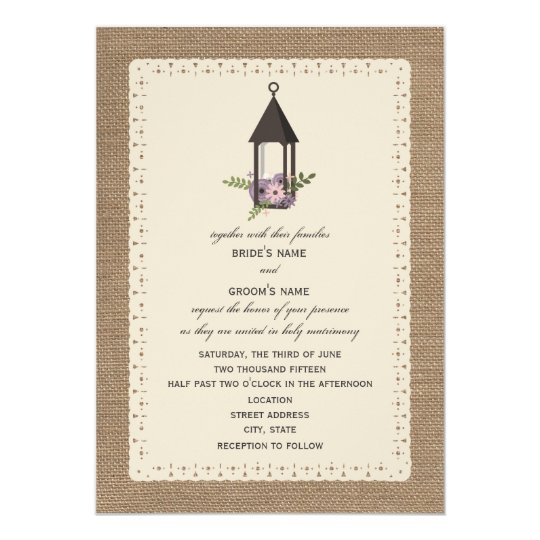 Burlap & Lace Inspired Lavender Floral Lantern Card