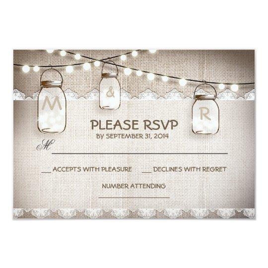 burlap lace lights & mason jar wedding RSVP