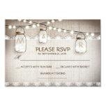 burlap lace lights & mason jar wedding RSVP card Custom Announcements