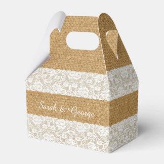 Burlap lace personalized wedding favor boxes favour boxes