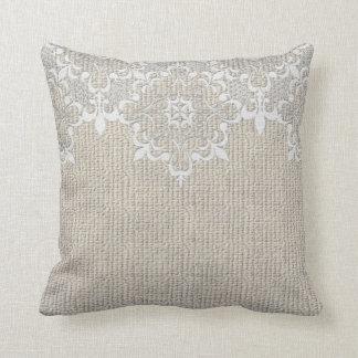 Burlap & Lace Pillow