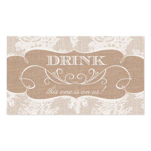 Burlap & Lace Print Wedding Drink Ticket Business Card