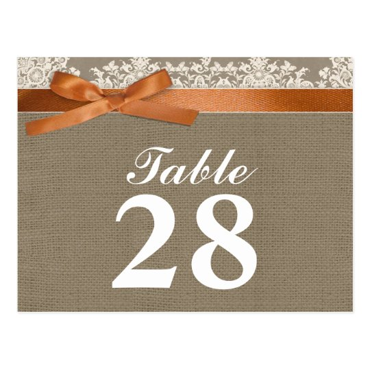burlap lace ribbon table number cards