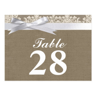 burlap lace ribbon table number cards postcard