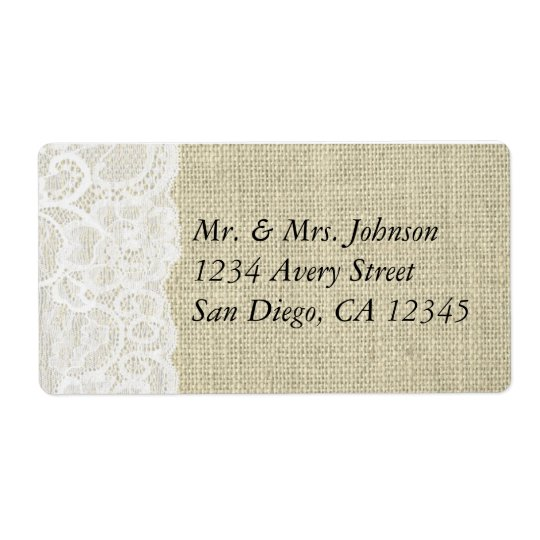 Burlap & Lace Romantic Country Address Labels