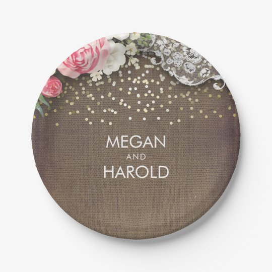 Burlap Lace Rustic Country Floral Wedding Paper Plate