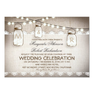 burlap lace string lights and mason jars wedding 13 cm x 18 cm invitation card