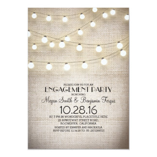 burlap lace string lights rustic engagement party 13 cm x 18 cm invitation card