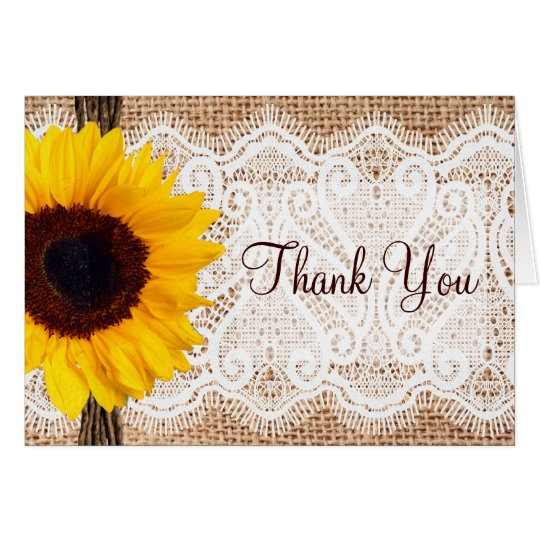 Burlap Lace Sunflower Thank You Cards