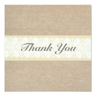 Burlap & Lace Thank You Card 13 Cm X 13 Cm Square Invitation Card