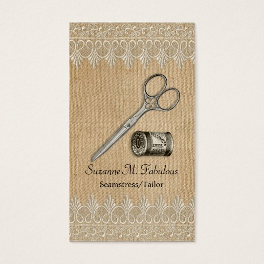 Burlap Lace Vintage Seamstress Tailor Scissors Business Card