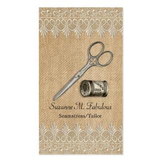Burlap Lace Vintage Seamstress Tailor Scissors Pack Of Standard Business Cards