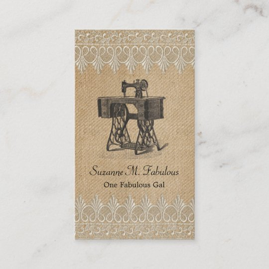Second hand business cards business card printing zazzle uk burlap lace vintage sewing machine business card reheart Images