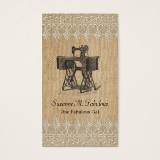Burlap Lace Vintage Sewing Machine Business Card