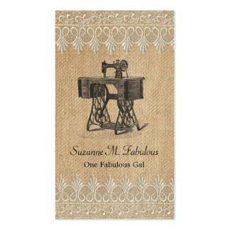 Burlap Lace Vintage Sewing Machine Pack Of Standard Business Cards