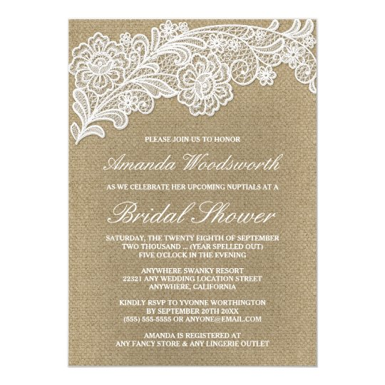 Burlap + Lace Wedding Bridal Shower Invitations