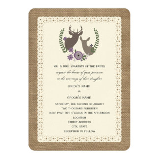 Burlap + Lace Wedding Buck + Doe Deer - Purple Card