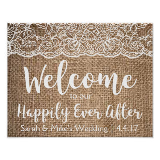 Burlap & Lace Wedding Sign- Happily Ever After Poster