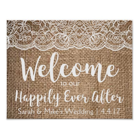 Burlap & Lace Wedding Sign- Happily Ever After