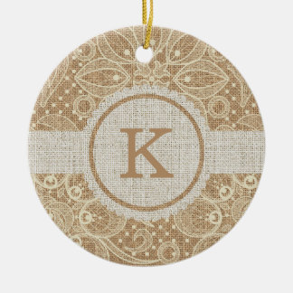 Burlap & Lace with Monogram Christmas Ornament