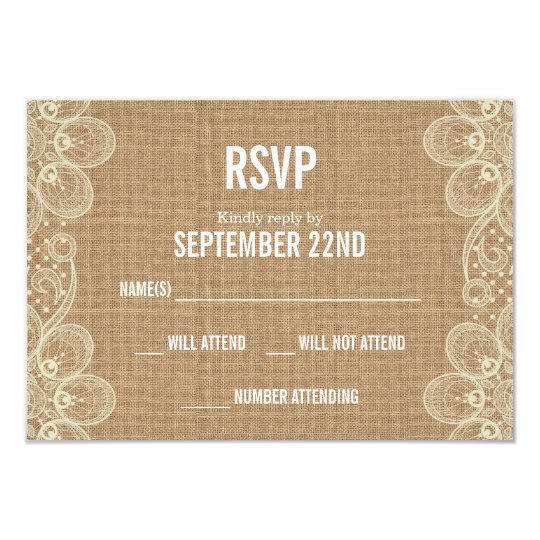 Burlap & Lace with Monogram Wedding RSVP Card