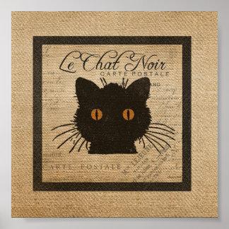 Burlap Le Chat Noir French The Black Cat Poster